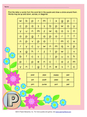 Find The Letter P Words From Word List In Puzzle And Draw A Circle Around Them