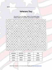 photograph about Veterans Day Word Search Printable identify