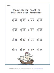 Worksheet Division With Remainders Worksheet learningplanet com thanksgiving themed basic math division facts worksheet answers have remainders answer key included