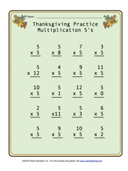math worksheet : learningpla   : Thanksgiving Multiplication Worksheet
